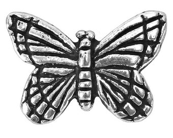 OVERSTOCK SALE 30% OFF: 12 pc. TierraCast Monarch Butterfly 5/8 inch ( 15 mm ) Silver Plated Pewter Beads