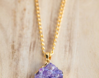 Purple agate druzy necklace