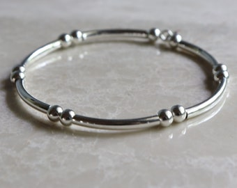 Sterling Silver Bangle, Sterling Silver Stacking Bracelet, Minimalist Bangle Bracelet, Silver Bangle Bracelet, Sterling Silver Bead Bracelet