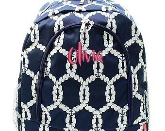 Monogrammed Backpack Personalized Sailboat Rope Nautical Navy Backpack Personalized Backpack Kids Backpack Girls Backpack Boys Backpack