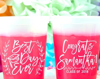 Graduation Cups, 2018 Graduation Party Decorations, High School Graduation, College Grad, Mood Cups, Color Changing Cups, Stadium Cups,