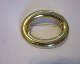 Vintage Large Oval Gold Tone Brooch Nice