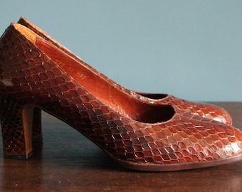 Vintage PYTHON SNAKE leather shoes, 80's, never worn, size 37, 6,5