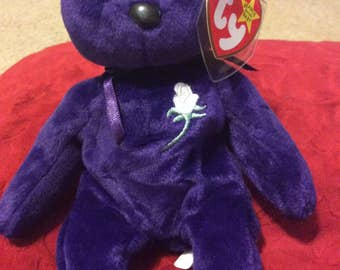 "Presenting, Retired, RARE, Mint condition Ty ""princess"" Princess Diana  Ty beanie baby, bear"