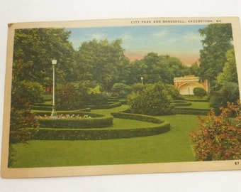 Vintage Post Card Hagerstown, Maryland City Park and Bandshell