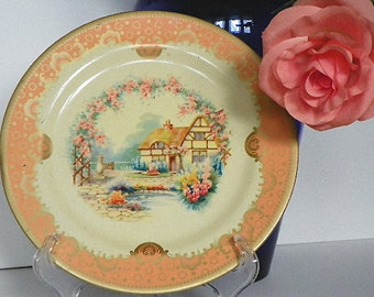 Very Old English Cottage Tin Plate by Baret Ware of England
