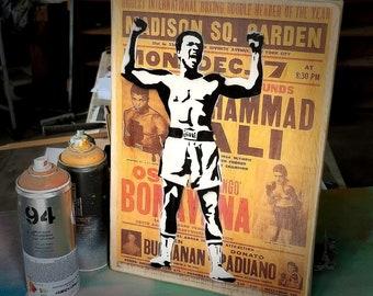 Muhammad Ali Mixed Media Graffiti Art Painting on Photo Transfer Original Art on Handmade Canvas Home Decor Pop Art Gallery
