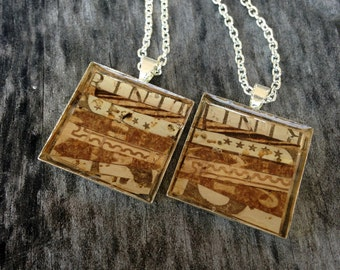 Recycled wine cork mosaic BFF necklace set