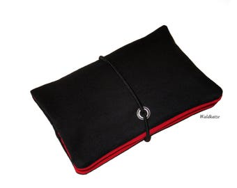Tobacco bag/Tobacco pouch/Drehertasche * Black/red *