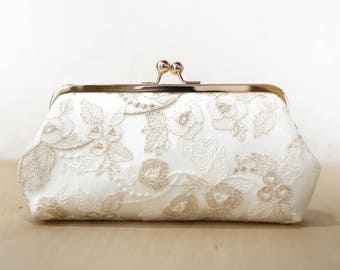 Ivory Bridal Clutch with Gold Thread Embroidery, Bridesmaid Gift, Bridal Clutch, wedding gift