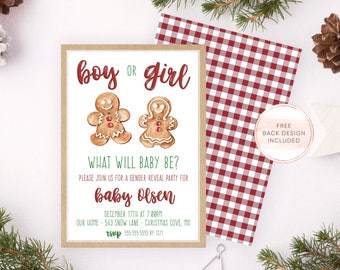 Christmas Gender Reveal Invite, Holiday Gender Reveal Invites, Christmas Party, Christmas Party Invites, Boy or Girl, Gingerbread Man 689