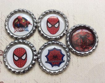 SET of 5 -Spiderman inspired Bottle Caps For Pendants, Hairbows Hair Bow Centers - Ready to use