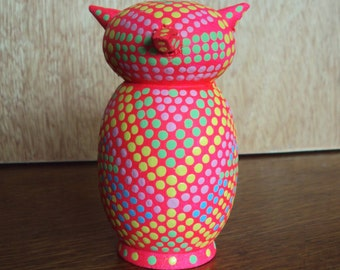 Flourescent Pink Handpainted Wooden Owl with Dots/Geometric like Designs/Mini-Sized