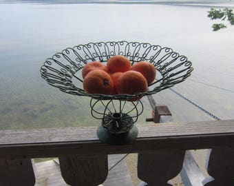 wire fruit bowl candle holder vintage wire centerpiece