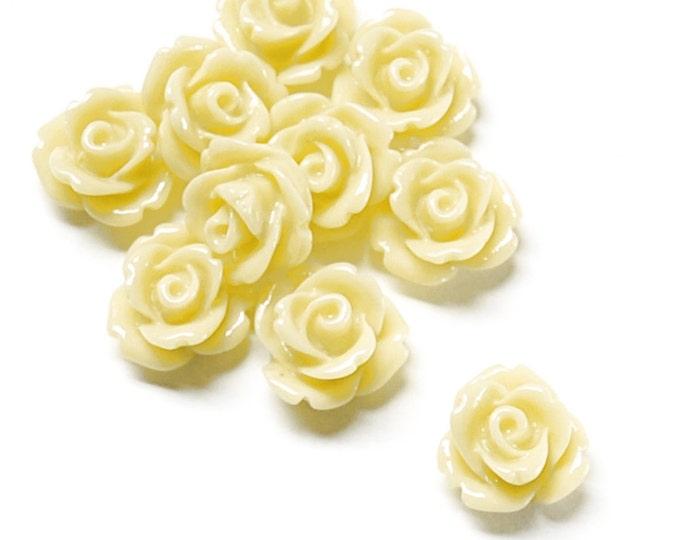 CLOSEOUT - Resin Cabochon, Rose 10mm, Butter - 50 Pieces (RSCRS-10BT)