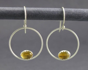 solid sterling silver circle earrings. oval citrine sterling silver circle dangle earrings. artisan handmade circle hanging earrings.