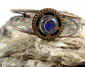 Fused Glass Bracelet, Dichroic Cuff Bracelet, Copper, Brass, Bronze