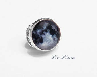 Full Moon Pin Brooch Tie Tack Lunar Night Sky Celestial Astronomy