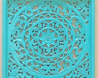 Balinese Wood Carving - Square Lotus Panel in Aqua