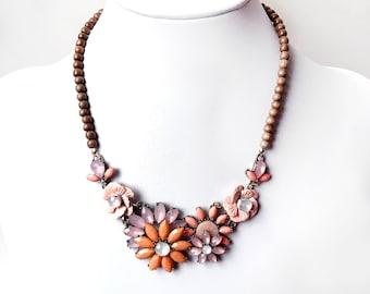 Necklace - Peach Floral Bib Necklace in Antique Brass - Coral Pink, Blush, Antique Gold Statement - Wood Flower Statement Necklace