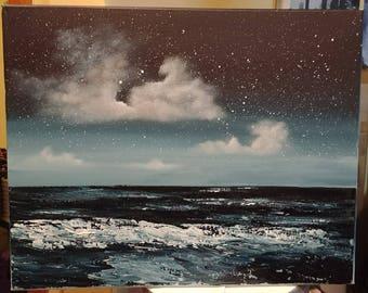 20 x 16 Acrylic night sky clouds seascape