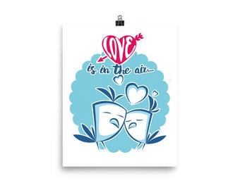 Love is in the Air Love Birds Happy Hearts Poster