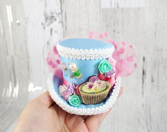 Light Blue, Pink, Mint and White Flower and Cupcake Cutout Small Mini Top Hat Fascinator, Alice in Wonderland, Mad Hatter Tea Party