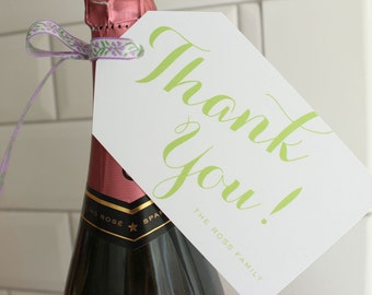 "personalized ""thank you!"" hostess gift / wine / present / hanging tags - mint green"