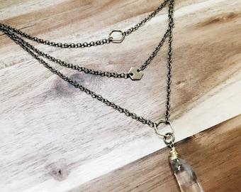 Hexagon Necklace + Nickel Free + Oxidized Brass + Layered Necklace + Statement Necklace
