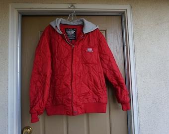 Polo Ralph Lauren size Large red jacket wit gray hood coat 80s 90s 1980s mens RL quilted windbreaker hoodie vintage vtg L
