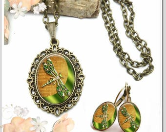 Necklace Earrings Oval Dragonfly Green Set-KBO-001
