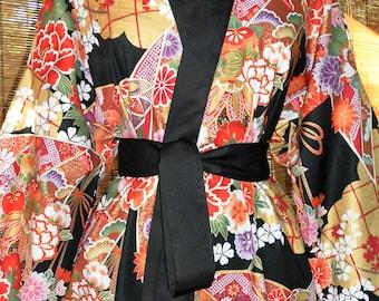 Haori Happi Coat Hip Length Kimono with Pockets BOTAN Birthday Christmas Mothers Day Fathers Day