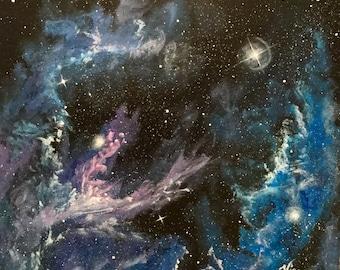 Galaxy Art outerspace Painting original ready to ship blue purple Galaxy stars nebula hand painted stars purple galaxies wall decoration
