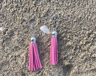 Millenial pink tassel earrings