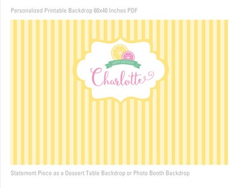 DIGITAL FILE Lemonade Backdrop, Lemon Backdrop, Lemonade Theme Birthday Backdrop