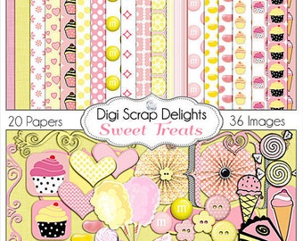 Pink Yellow Digital Scrapbook Kit w Cup Cakes, Candy Clip Art, Jelly Beans, M&Ms, for Digital Scrapbooking, Instant