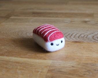 Needle Felted Tuna Sushi - Needlefelt Toro Nigiri - Felted Japanese Food - Mini Sushi Plush Phone Charm