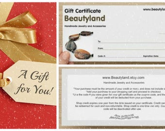 Last Minute Gift Certificate for Wife Jewelry Gift Card Gift  for girlfriend ETSY Christmas Mom Gift Card Handmade Gift for mother in low