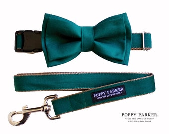 Layered Dog Bow Tie - Hunter Green Juniper - Optional Matching Collar and Leash - Xmas Gift Ideas