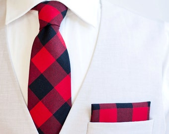 "Necktie, Neckties, Mens Necktie, Neck Tie, Mens Necktie, Groomsmen Necktie, Ties, Wedding Neckties - Black And Red 1"" Gingham Check"