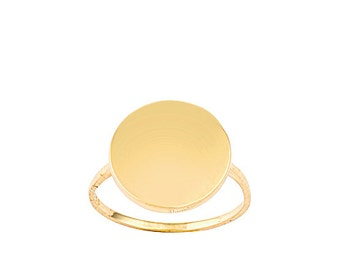 Disc 14k Solid Gold Ring Name Tag