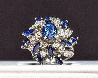 18k White Gold Diamond Sapphire Spiral Statement Ring