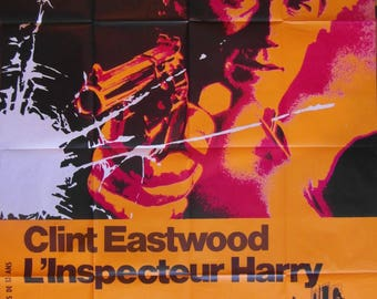 Original 1971 Grande Clint Eastwood 'Dirty Harry' French Movie Poster
