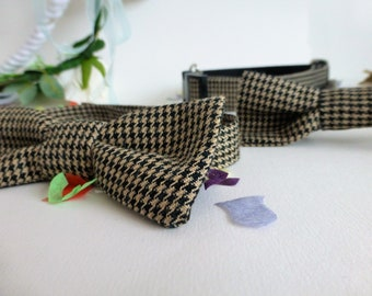 Daddy and me wedding accessories matching tweed bow ties and adjustable dog collars