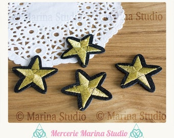 4 star patch sticker black and gold - DIY - trendy color