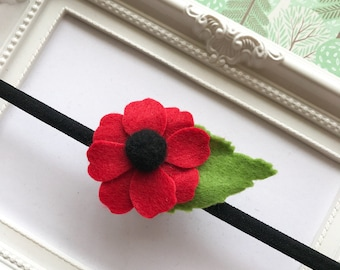 Red Poppy Felt Headband, Poppy Hair Clips, Poppy Hair Accessories, Lapel Flower, ANZAC Poppy Flower Brooch, Remembrance Day, Veterans Day