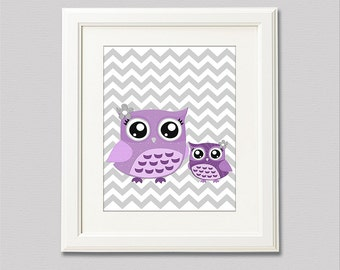 Purple OWL nursery Art Print - 8x10 - Children wall art, Baby Room Decor, nursery art, purple owl, grey chevron  -  UNFRAMED