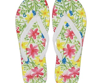 Wildflower Canvas and Vinyl Flip Flops- Men's and Women's: S, M, L, XL