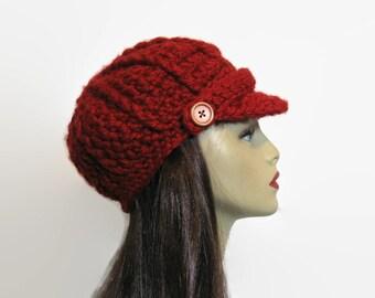 Red Newsboy Hat Crochet  Dark Red news boy Hat with brim Dark Red Hat with Visor Hat Knit Maroon newsboy cap adult newsboy hat womens  hat