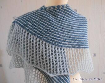 light blue/medium blue shawl, hand knitted, alpaca/silk